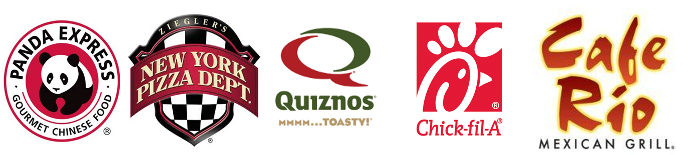 Logos of our lunch vendors: Panda Express, NYPD Pizza, Quiznos, Chick-fil-A and Cafe Rio